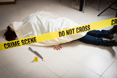 crime scene with woman dead Stock Photo