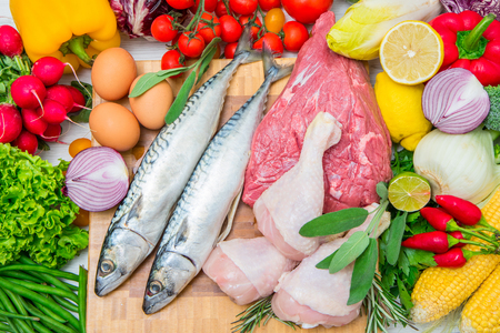 Mediterranean diet with fish,meat and vegetables