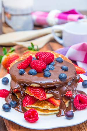 delicious homemade pancakes with chocolate