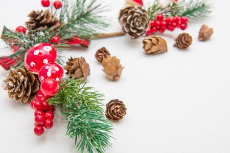 Christmas composition. Fir tree branches, red decorations on white background.