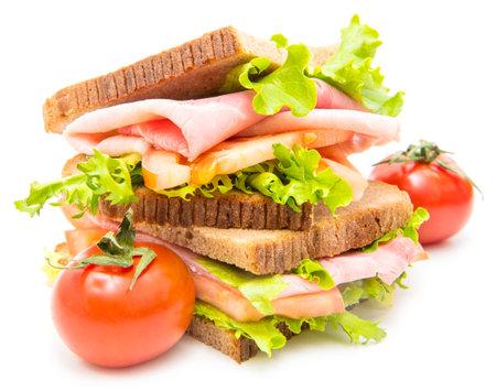sandwiches with ham, saladf and tomatoes Standard-Bild
