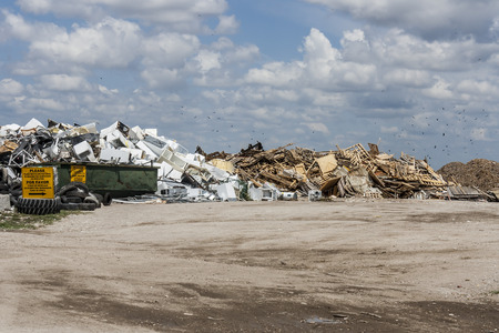 Aluminum and wood recycling area of landfill site