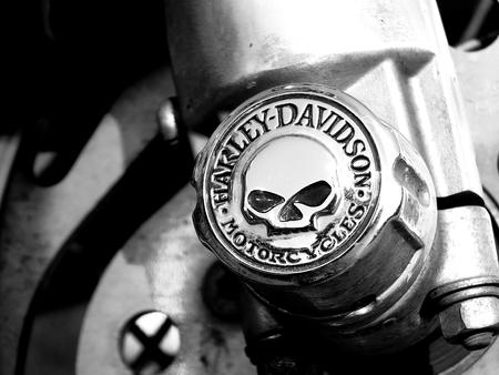 harley: Czarnkw, POLAND - September 13, 2014: A logo of Harley-Davidson