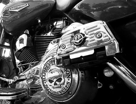 Czarnkw, POLAND - September 13, 2014: Details of Harley-Davidson, on one of the motorcycles during the annual rally; black and white color