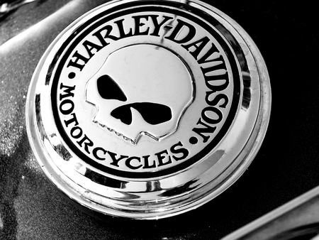 Czarnkw, POLAND - September 13, 2014: A logo of Harley-Davidson on one of the motorcycles during the annual rally in Czarnkow in Poland