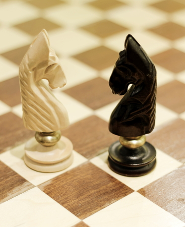 depth of field: white and black knights; shallow depth of field