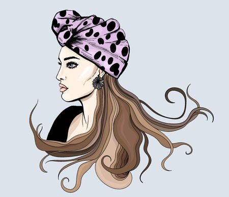 Woman portrait. Young beautiful girl profile with earrings and bandana. Hand drawn fashion illustration of gorgeous model. Can be used in design of magazines, advertising, booklets, poster, signboard.