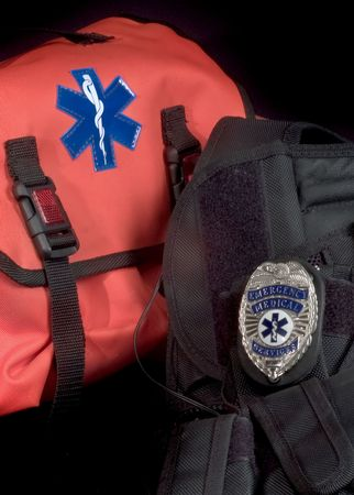 EMT medical bag with Life Star , tactical vest and EMS shield badge Stok Fotoğraf