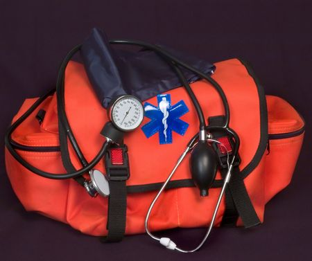ems: EMT - First aid bag with Life Star, stethoscope and blood pressure cuff Stock Photo