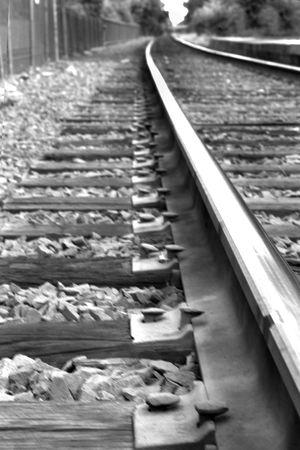 sleeper: Railroad tracks. Black and white.