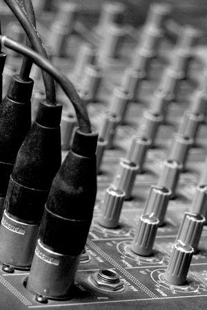 Sound Board clouse-up. Black & white