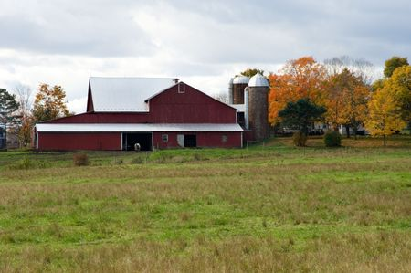 Red barn at farm in Pennsylvania photo