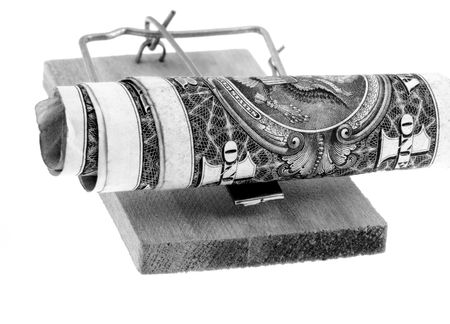 Mouse trap with dollars. B&W photo