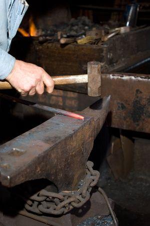 hammering: Hammering glowing steel