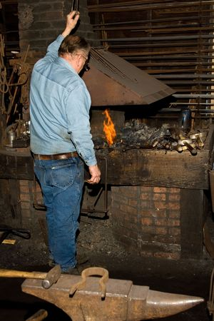 ancient blacksmith: Old Blacksmith at the Forge