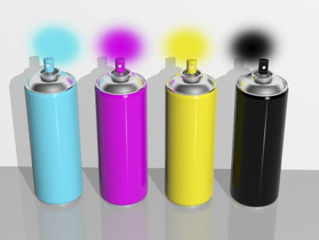 3d rendering, spray paint cmyk Stock Photo - 16298241
