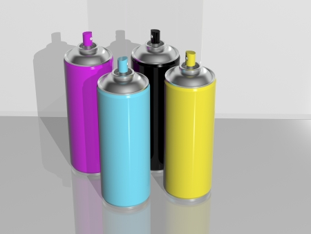 3d rendering, spray paint cmyk Stock Photo - 16298240