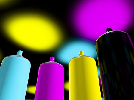 3d rendering, spray paint cmyk Stock Photo - 16298231