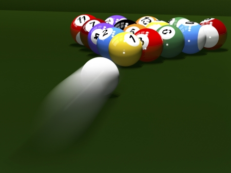 3d render. Colored balls for billiards. Pool.