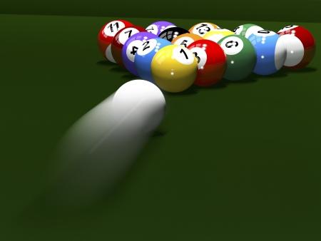 3d render. Colored balls for billiards. Pool.
