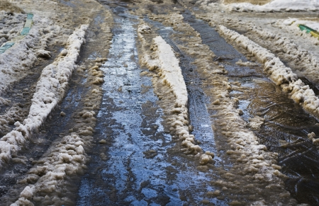 ice, snow, dirt in the street in winter