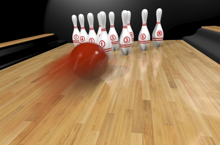 Bowling. Ball and skittles on the track.