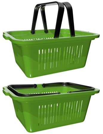 plastic green basket with handles for shopping Stock Photo - 17174702