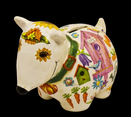 faience: toy - piggy bank for money. faience and decoupage