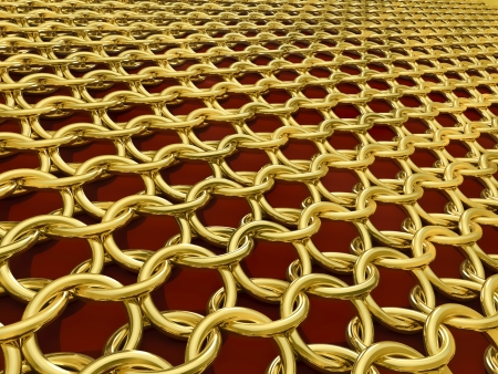 hauberk: Ringed hauberk - Outlook - gold on a red background Stock Photo