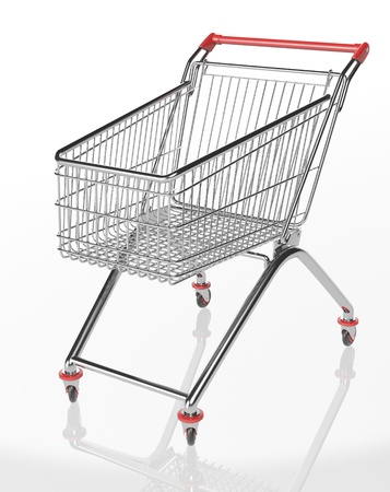 Shopping trolleys isolated on white background. 3d render. Stock Photo