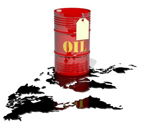 industria quimica: un barril de petróleo y el precio vacía. petróleo derramado como un mapa del mundo