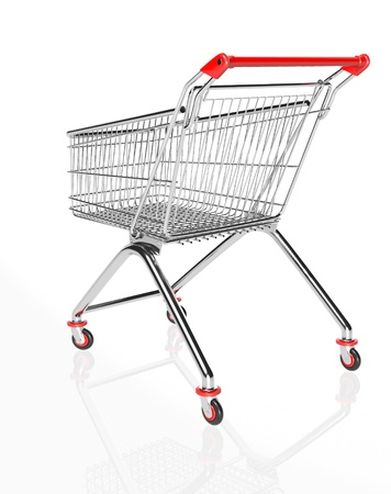 Shopping trolleys isolated on white background. 3d render. Stock Photo - 17461678