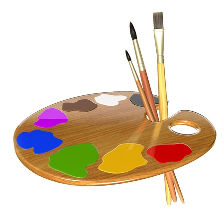 Palette with paint and brushes isolated on white background. 3d rendering.