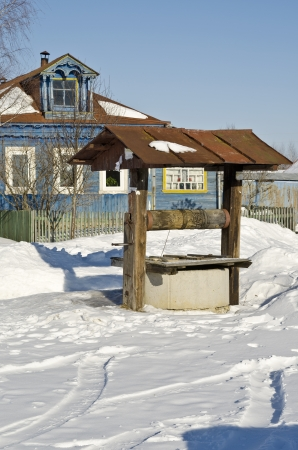 village well in the Russian countryside. winter photo