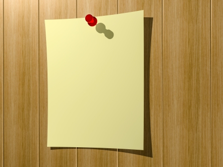 A sheet of paper for notes pinned to a wooden wall button. 3d render. Stock Photo