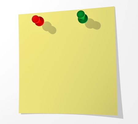 A sheet of paper for notes pinned by two buttons to a white surface. 3d render. Stock Photo
