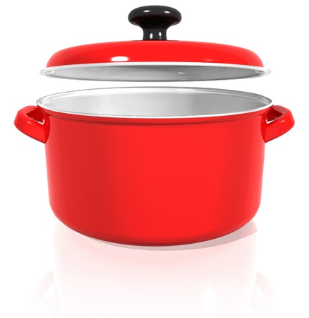 red pan with a raised lid on a white background with reflection. 3d render.