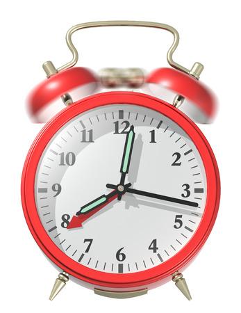 Red alarm clock ringing. 3d render