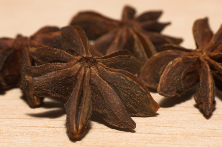 anis: star anise. Seeds of herbaceous annual plant of the family Umbelliferae Stock Photo