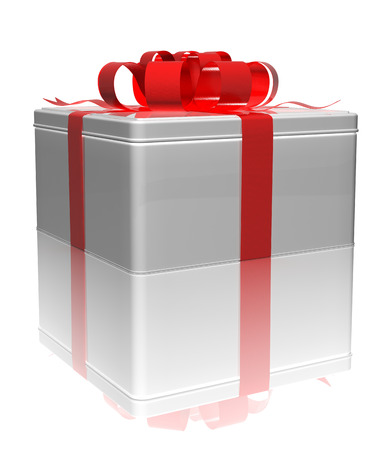 gift tin box with a red ribbon on a white background. 3d render Stock Photo
