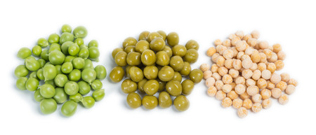 three types of green peas - raw, canned and dry, isolated