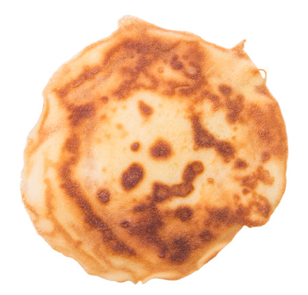 One fried pancake against the white background Stock Photo