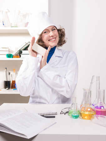 new medicine: medical doctor woman talks about the new medicine and conducting tests Stock Photo