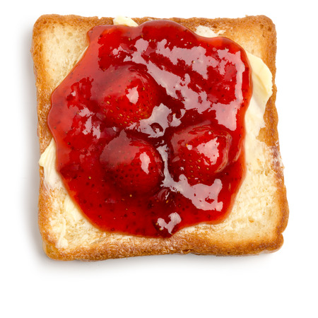 strawberry jam: toast with butter and strawberry jam on a white background Stock Photo
