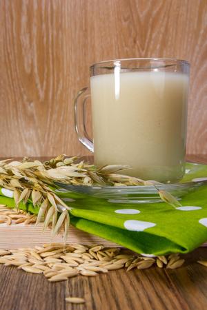 oat decoction in a transparent mug