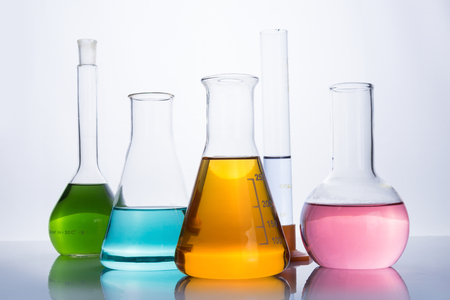 reagents: chemistry laboratory equipment, flasks and test tube with color reagents