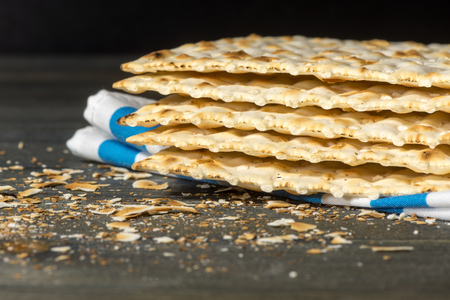 unleavened: Matzah - An unleavened bread, traditionally eaten by Jews during the Passover festival Stock Photo