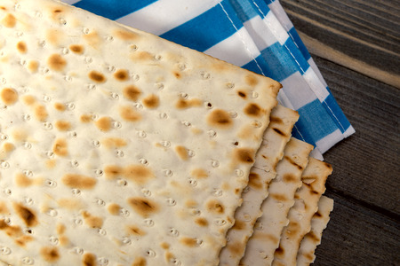 matzah: Matzah - An unleavened bread, traditionally eaten by Jews during the Passover festival Stock Photo