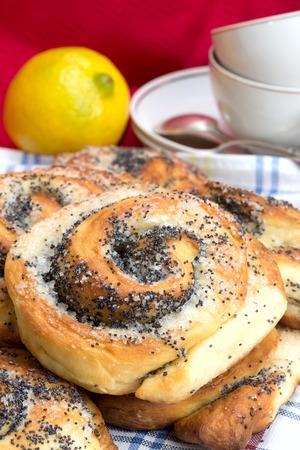 sweet bun with poppy seeds for tea Stock Photo