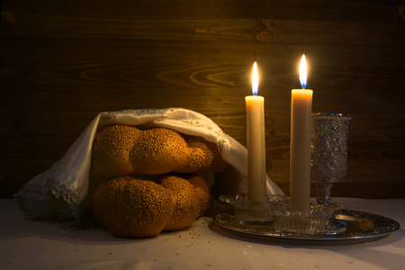 kiddush: Shabbat Shalom - Traditional Jewish Sabbath ritual Stock Photo